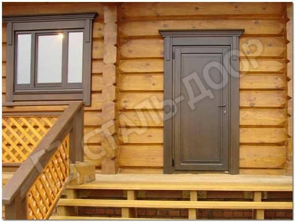 уличная входная дверь для дома из бревна