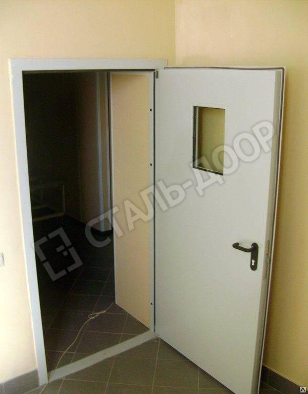 металлические технические двери со стеклом