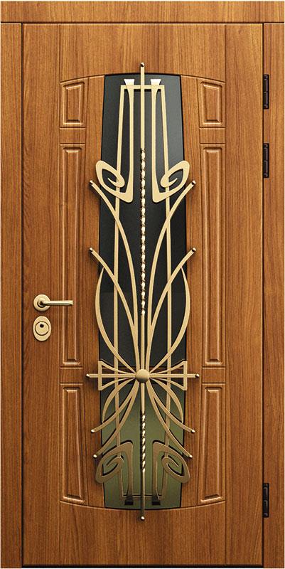 двери входные металлические со стеклом и ковкой со склада