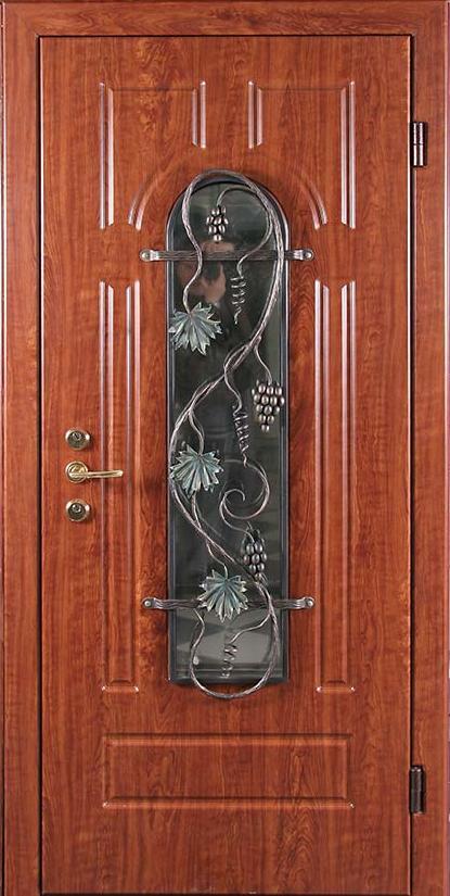 металлическая дверь со стеклопакетом и ковкой от производителя