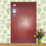двухстворчатая металлическая дверь с витражем