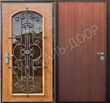 российские двери входные со стеклом и ковкой