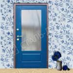 входная дверь с зеркалом синяя