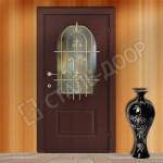 металлическая дверь с зеркалом и ковкой