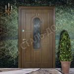 стальные двери со стеклом и ковкой на коттедж